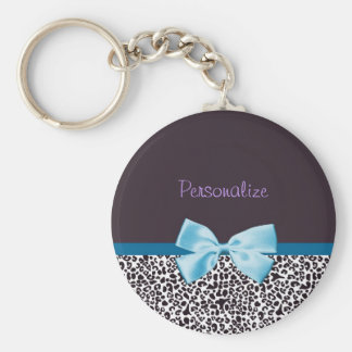 Trendy Leopard Print and Blue Ribbon With Name Basic Round Button Key Ring