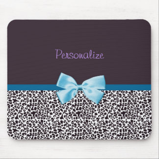 Trendy Leopard Print and Blue Ribbon With Name Mouse Mat