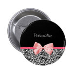 Trendy Leopard Print and Pink Ribbon With Name 6 Cm Round Badge