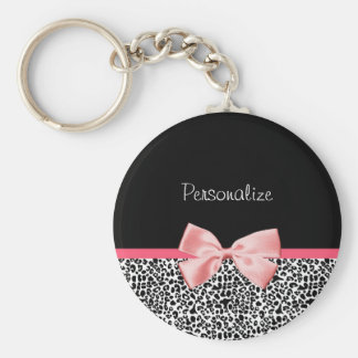 Trendy Leopard Print and Pink Ribbon With Name Basic Round Button Key Ring