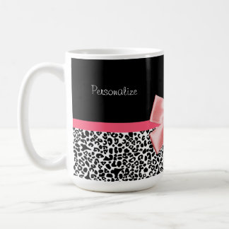 Trendy Leopard Print and Pink Ribbon With Name Basic White Mug