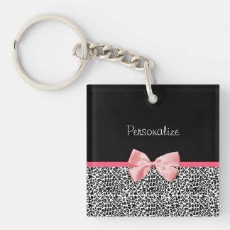 Trendy Leopard Print and Pink Ribbon With Name Double-Sided Square Acrylic Key Ring