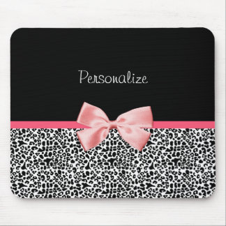 Trendy Leopard Print and Pink Ribbon With Name Mouse Pads