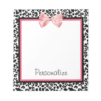Trendy Leopard Print and Pink Ribbon With Name Notepad