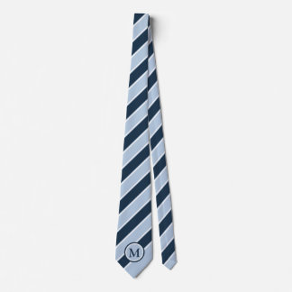 Trendy Light Navy Blue Stripe Monogram Initial Tie