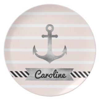 Trendy Light Pink Stripes Anchor Personalized Plates