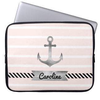 Trendy Light Pink Stripes Nautical Anchor Custom Laptop Sleeve