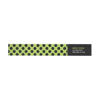Trendy Lime Green & Black Polka Dot Wraparound Return Address Label