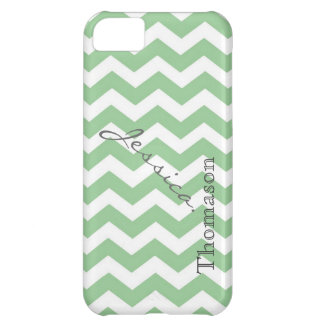 Trendy lime green chevron zigzag pattern, case for iPhone 5C