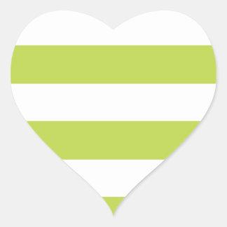 Trendy Lime Green Striped Pattern Heart Sticker