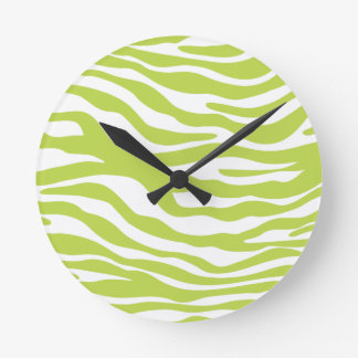 Trendy Lime Green Zebra Print Pattern Round Clock