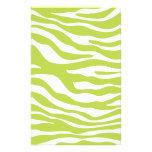 Trendy Lime Green Zebra Print Pattern Customized Stationery
