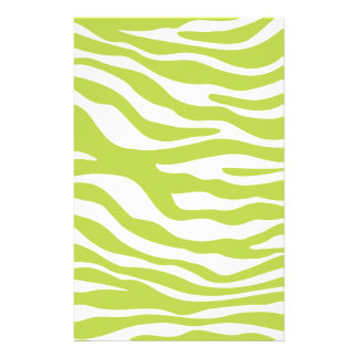 Trendy Lime Green Zebra Print Pattern Stationery