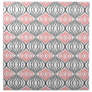 Trendy Lines Pattern In Red And Black On White Napkin