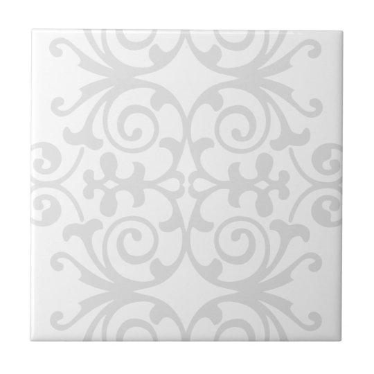 Trendy Lite Grey Damask Pattern Small Square Tile