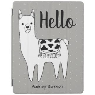 Trendy Llama Sketch & White Dots Hello iPad Cover