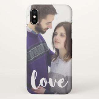 Trendy Love Typography with Add Photo iPhone X Case