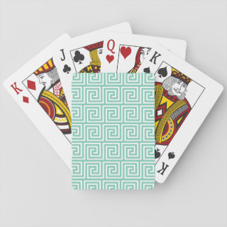 Trendy Lucite Green and White Greek Key Pattern Playing Cards