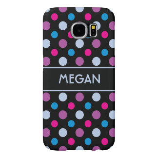 Trendy Magenta-Pink Purple and Blue Polka Dots Samsung Galaxy S6 Cases