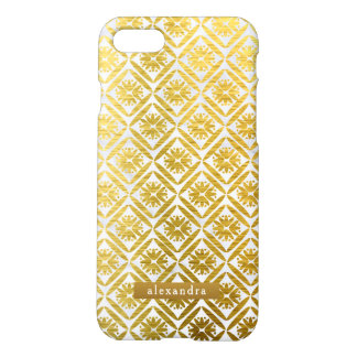 Trendy Marble and Gold Geometric Pattern iPhone 8/7 Case