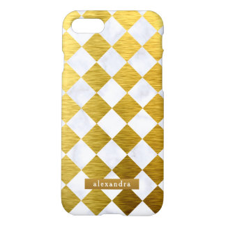 Trendy Marble and Gold Squares Pattern iPhone 8/7 Case