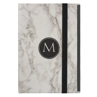 Trendy Marble Design Monogram Initial Cases For iPad Mini