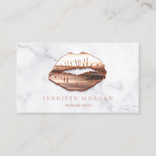 trendy marble rose gold 3d lips makeup artist business card - Makeup Artist Business Cards