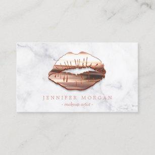 Makeup artist business cards zazzle uk trendy marble rose gold 3d lips makeup artist business card colourmoves