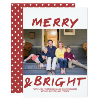 Trendy Merry and Bright Photo Card | Burgundy