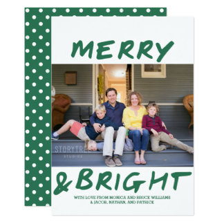 Trendy Merry and Bright Photo Card | Green