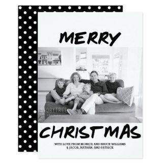 Trendy Merry Christmas Photo Card | Black