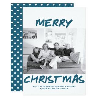 Trendy Merry Christmas Photo Card | Blue