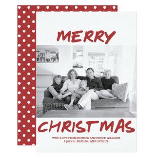 Trendy Merry Christmas Photo Card | Burgundy