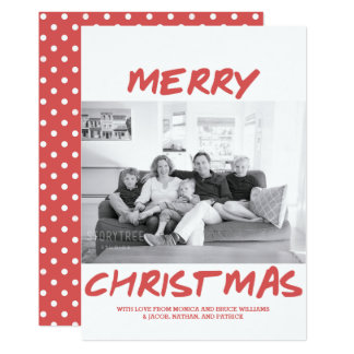 Trendy Merry Christmas Photo Card | Red