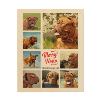 Trendy Merry Ho Ho 8 Photo Template Wood Wall Art