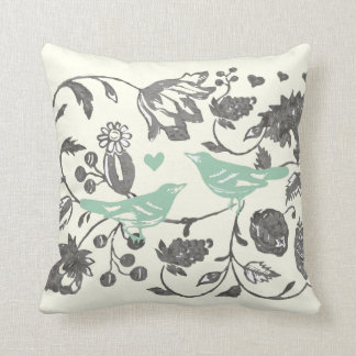 Trendy Mint and Gray Vintage Floral Bird Cushion