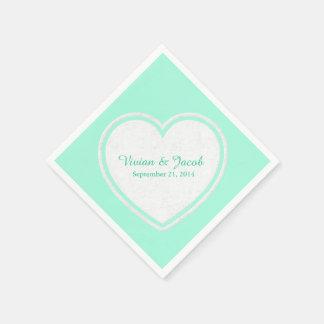 Trendy Mint Green and White Custom Wedding Napkin Paper Napkin