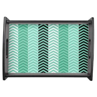 Trendy Mint Green Chevron Stripes Pattern Serving Tray