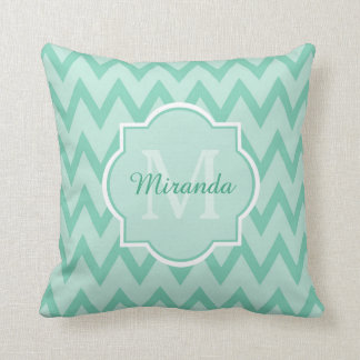 Trendy Mint Green Chevron Zigzag Name and Monogram Cushion
