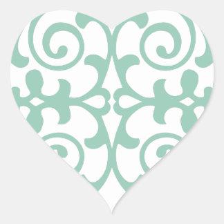 Trendy Mint Green Damask Pattern Heart Sticker