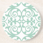 Trendy Mint Green Damask Pattern Sandstone Coaster