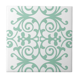 Trendy Mint Green Damask Pattern Small Square Tile