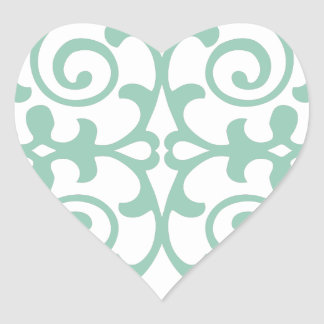 Trendy Mint Green Damask Pattern Heart Stickers