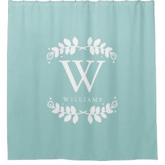 Trendy Mint Green Monogram Shower Curtain