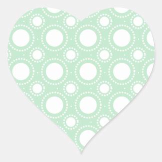 Trendy Mint Green Polka Dots Heart Sticker