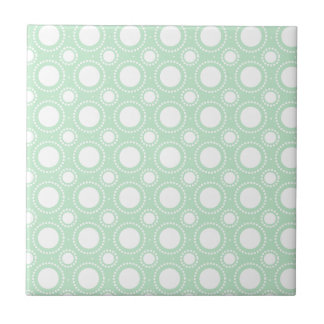 Trendy Mint Green Polka Dots Small Square Tile