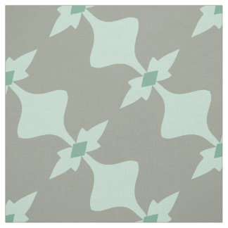 Trendy Mint Grey Retro Pattern Fabric