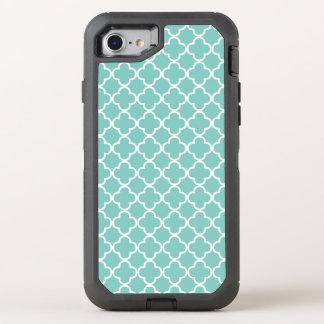 Trendy Mint Quatrefoil Pattern OtterBox Defender iPhone 8/7 Case
