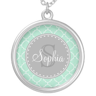Trendy Mint Trellis Pattern Grey Monogram Silver Plated Necklace