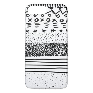 Trendy modern black white hand drawn pattern iPhone 8 plus/7 plus case